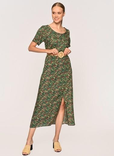 Loves You Kısa Kollu Beli Lastikli Desenli Elbise Yeşil